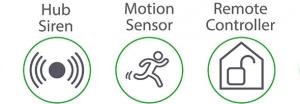 sensor, central y sirena de alarma